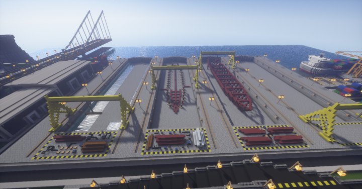 Shipyard with keels for ships being laid down.