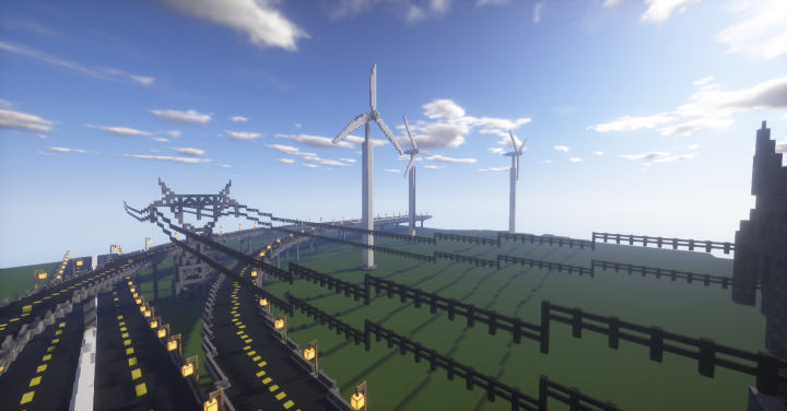 Interchange at the edge of the wind farm.