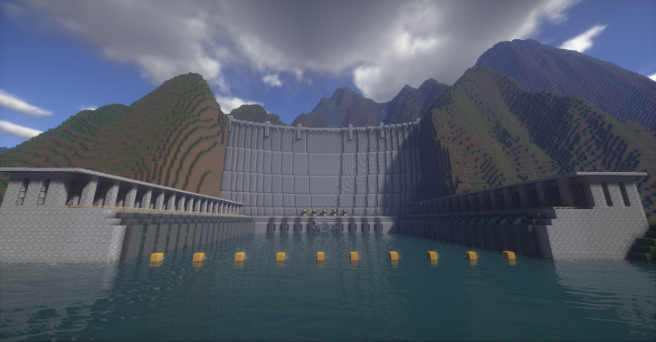 Large hydroelectric generating station in the mountains.