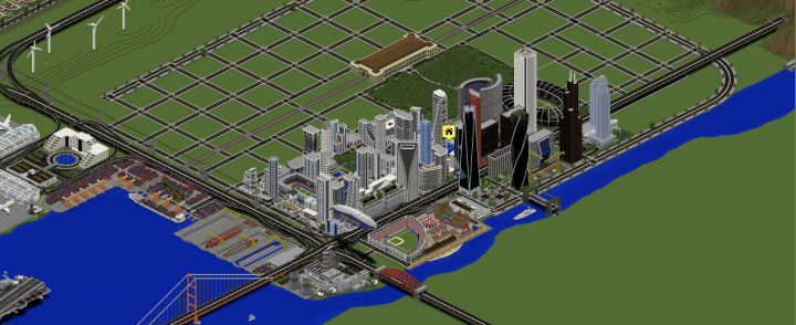 Downtown area in isometric view.