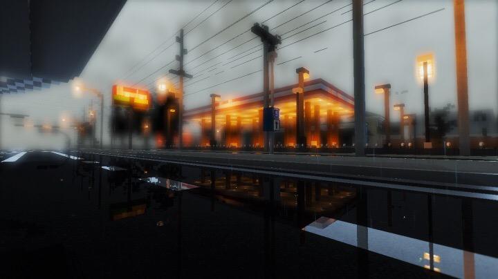 Rainy Gas Station
