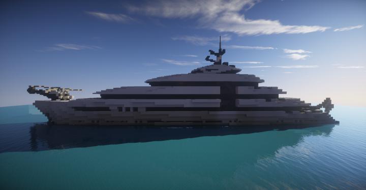 Mega Yacht White Phoenix Somewhat Full Interior Minecraft Project