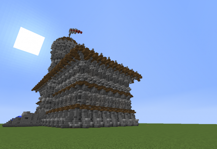 Side view of the town hall - 50 percent done
