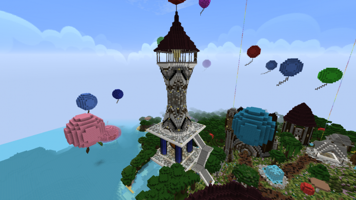 Tall Tower With Spiral Staircase And Water Lava Base Minecraft Map