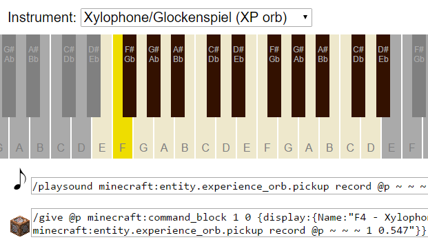 Web app] Music Note Command Generator for 1 9/1 10/1 11 Vanilla
