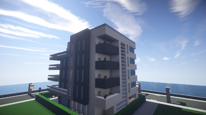 . Small Modern hotel   Suites del Mar  Schematic available  Minecraft