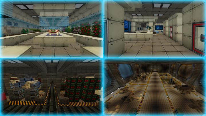 Botanic lab, Medical experiments lab, Main cargo storage, Vehicle bay 1.