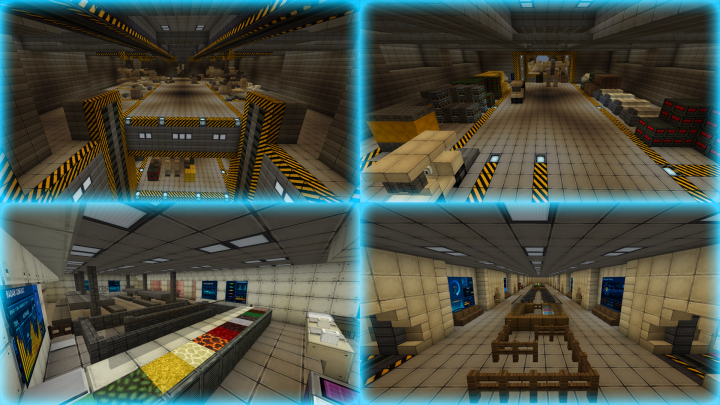 Vehicle bay 1 Repair station, Vehicle bay 1 Cargo storage, Jails sector, Bedrooms sector.