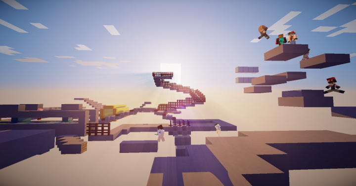 Players racing in Minigame Mayhems original map