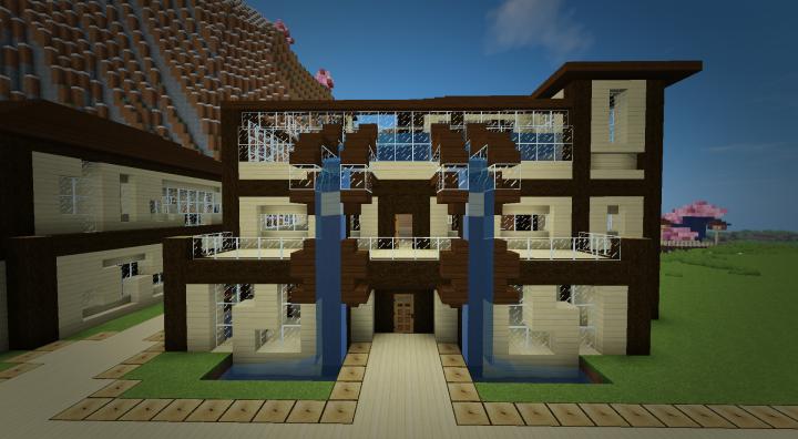 Maison en bois moderne modern wooden house minecraft project - Maison en bois minecraft ...
