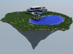 Modern Lake House on Medium Populated Floating Island - 1.8.x to 1.13.x Minecraft Map & Project
