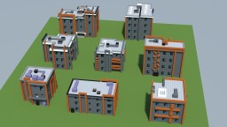 Urban modernist small apartment house pack (8 objects) Minecraft Project