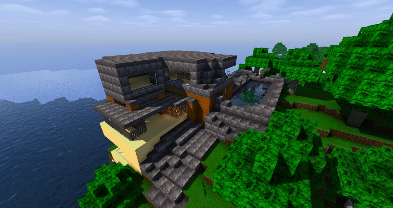 Very nice house w pool hillside very nice minecraft project for Very nice house