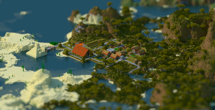 Horse ranch village in my ssp lets play world - rendered with Chunky