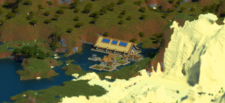 Villager trading hall in my ssp lets play world - rendered with Chunky