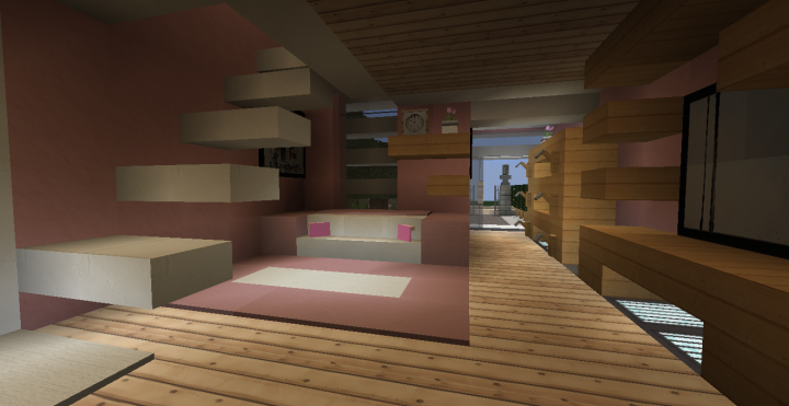 pink modern house minecraft project