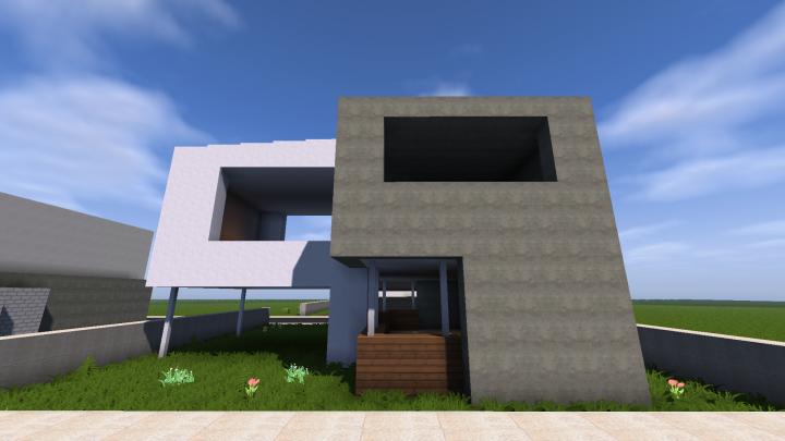 Minecraft simple modern house youtube tutorial minecraft for Modern house tutorial