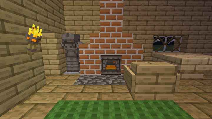 The workbench can be used as decoration for a fireplace -- cozy!