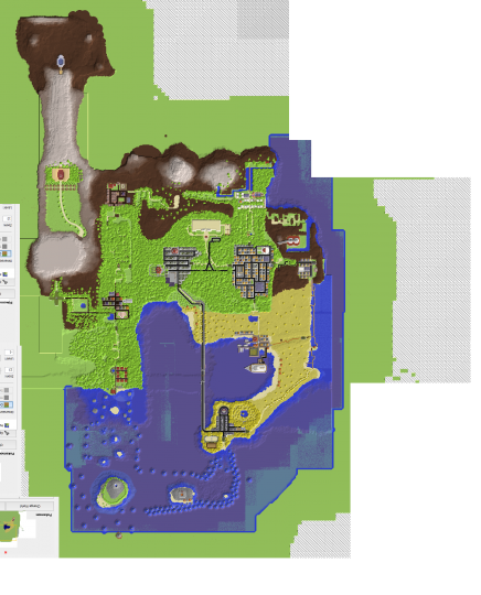 Top down view of the map in Chunky