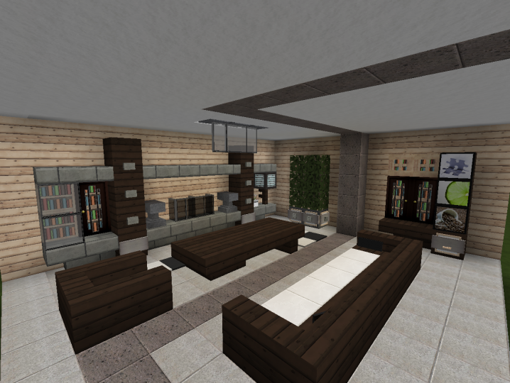 3 modern living room designs minecraft project for Minecraft house interior living room