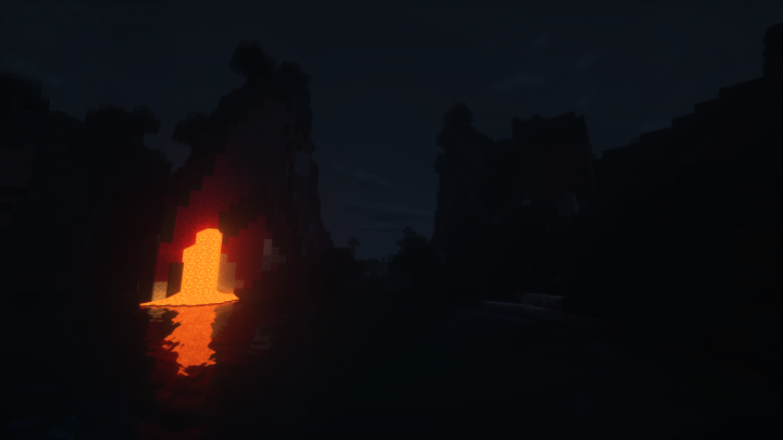 The new crimson world at night with shaders