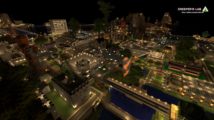 Central, the spawn city, at night