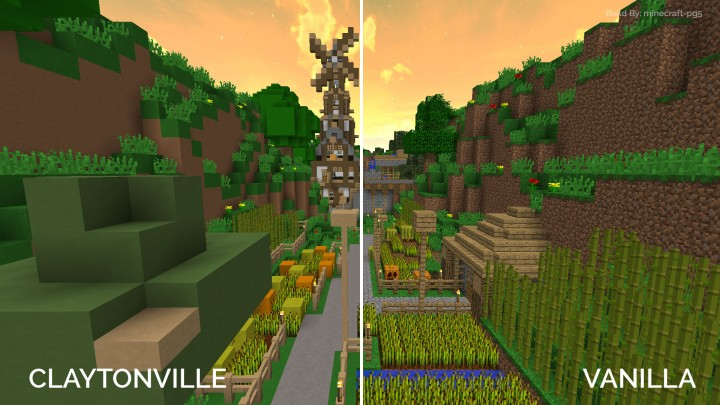 With and without Claytonville applied. Build By minecraft-pg5