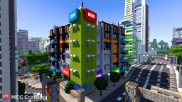 Low Rise Modern Apartment Building & Shop Stores High Street Minecraft Project