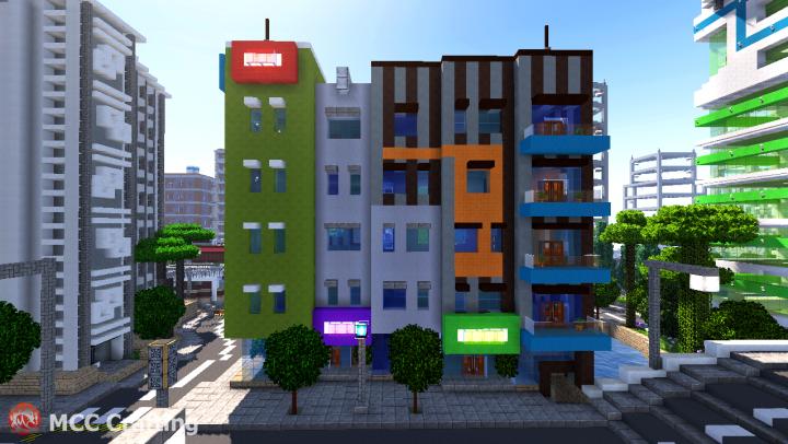 Low rise modern apartment building shop stores high for Shop apartments