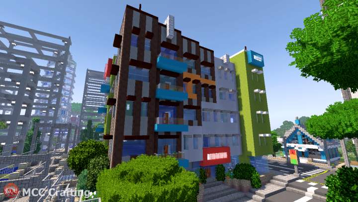 Low Rise Modern Apartment Building  Shop Stores High Street LBS City Los Block Santos
