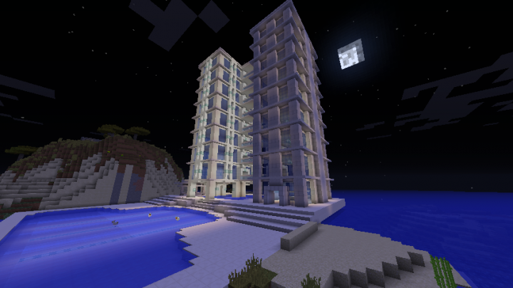 A generated hotel at night.
