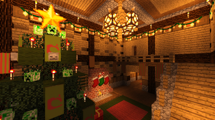 Hang up christmas ornaments with renamed paper and glowstone in item frames!
