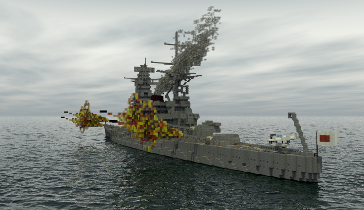 Number 13 class battleship 1940s modernization minecraft - Yamato render ...