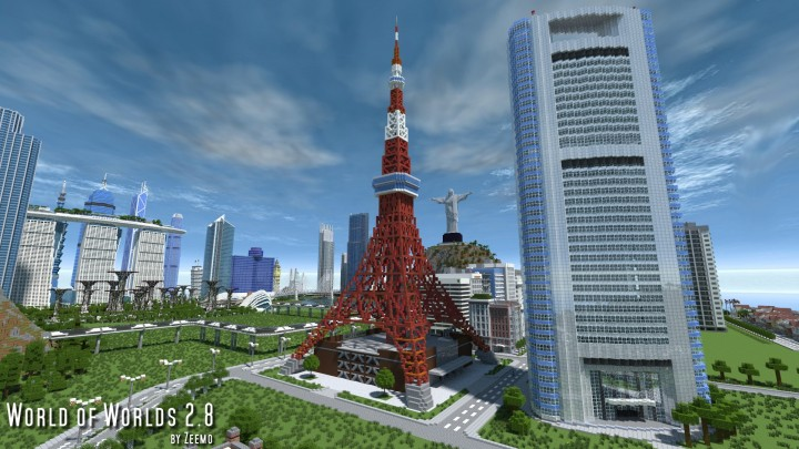 Tokyo Tower beside the Shiodome Media Tower