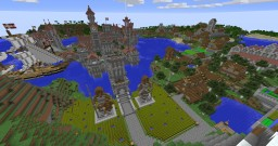 Medieval fantasy castle with harbour and village Minecraft