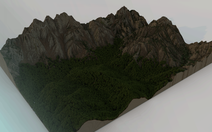 An early render of Mount Dolmed and its forested foothills