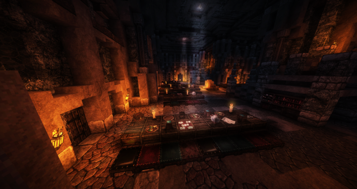 A feasting hall in one of the dwarven mines