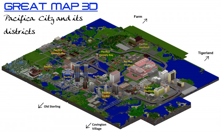 GREAT MAP 3D - This maps shows only Pacifica, not the surrounding places and regions.