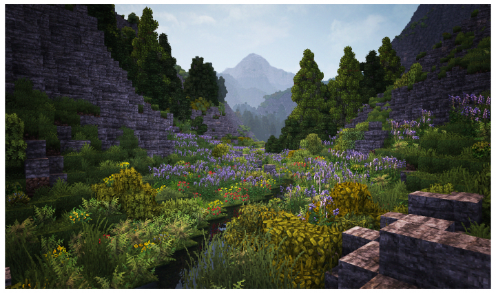A valley filled with alpine flowers