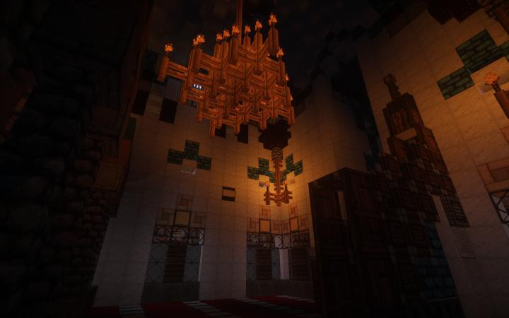 The chandelier, minbar and mihbar.
