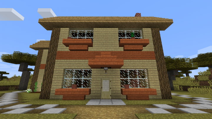 Country style house with adjacent village minecraft project for Country style project homes