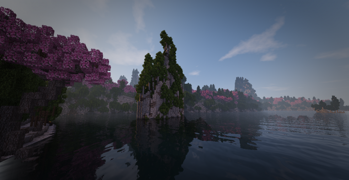 Biome inspired by tianzi mountains in china and a Japanese forest. A large lake at the center of this biome