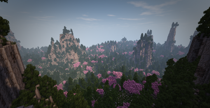 A view on some forest from mountain cliffs which surround and gaurd this biome to the sea, creating a hidden biome feel