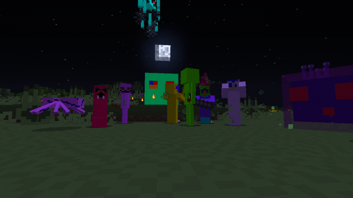 Hostile mobs are brightly colored to contrast with the environment