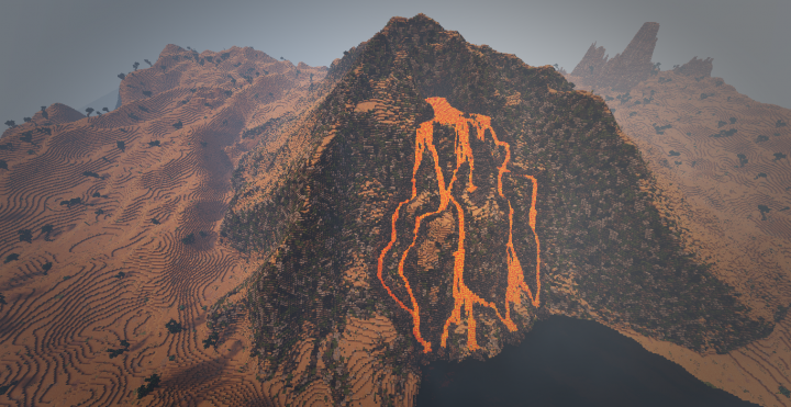 the red desert volcano at a huge ocean cove
