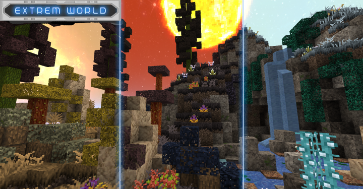 3 of the 12 biomes of the pack