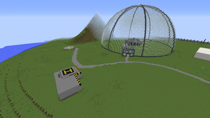 Day Fourteen Finished Aviary structure, VIP Helipad and Ranger Station, as well as the main Visitor Dock.