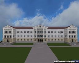 Replica Minecraft, University Literary Building, University of Deusto, Bilbao, Spain. Minecraft