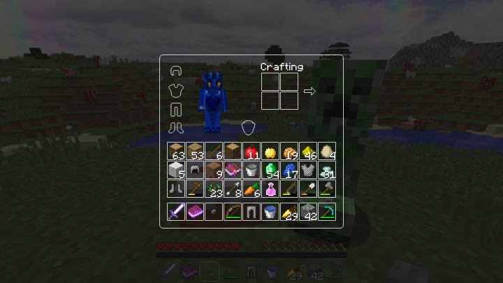 Survival GUI Player with view on empty armour slots