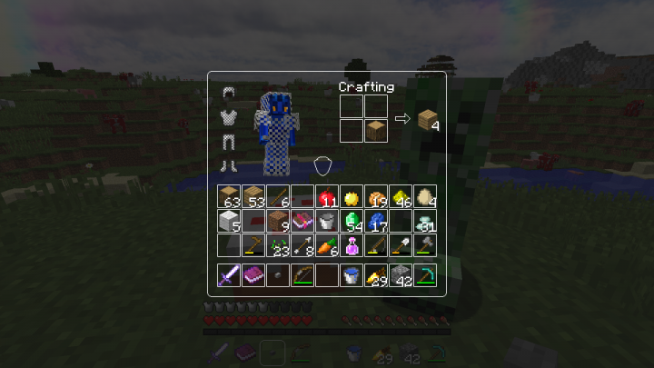 Survival GUI Player with equipped armour and view on player crafting grid